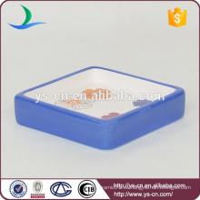 YSb40046-01-sd Plato de jabón de cerámica cuadrado de la ducha con la calcomanía floral