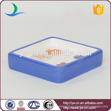 YSb40046-01-sd Квадратное керамическое мыло для душа с цветочным деколем