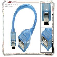 BRAND NEW PREMIUM 20cm USB fêmea para mini cabo macho de 5 pinos Azul transparente