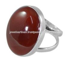 Natürlicher roter Onyx Edelstein 925 fester silberner Ring