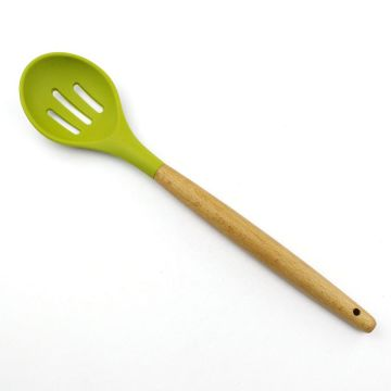 Beech Wood Handle Silicone Kitchen Slotted Spoon