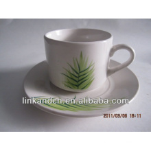 Haonai exported green grass decal ceramic cup and saucer