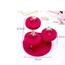 Venda por atacado cor-de-rosa do suporte de exposição do anel da jóia de veludo (RS-3R-RVC1)