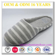 Wholesale cheap adults stripe cotton soft sole indoor bedroom slipper