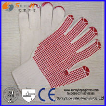 pvc dotted cotton knitted seamless gloves