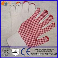 Пвх пунктирные хлопчатобумажные трикотажные бесшовные перчатки