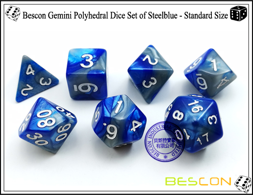 Bescon Gemini Polyhedral Dice Set of Steelblue-4