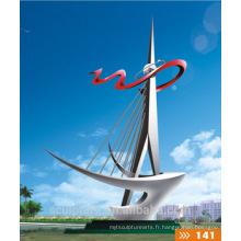 Navire à grande échelle moderne à grande échelle Acier inoxydable304 Sculpture pour décoration extérieure