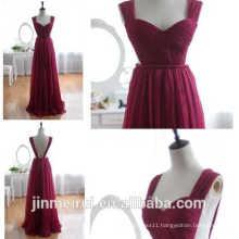 2016 new arrival free shipping chiffon purple maid of honor dress long open back plum bridesmaid dress