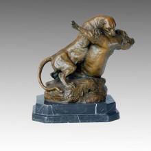 Estatua animal leones lucha contra la escultura de bronce Tpal-114