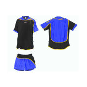 Plus Size Black Blue Interlock Polyester Football Uniform Sublimated Soccer Jersey Shorts