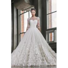 Los últimos vestidos Alibaba elegante Tulle blanco 3/4 manga larga una línea de vestidos de novia Vestidos de Novia vestido Flowers2016 LWA02
