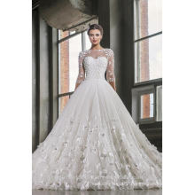 Latest Gowns Alibaba Elegant Tulle White 3/4 Long Sleeve A Line Wedding Dresses Vestidos de Novia Dress Flowers2016 LWA02