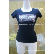 Camisa do T das mulheres, em volta do pescoço Camiseta