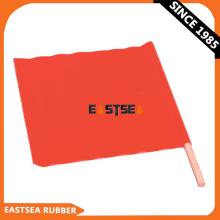 Drapeau de sécurité tenu dans la main en gros de tissu orange de PVC