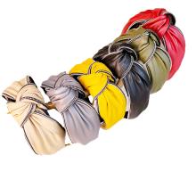 Bandeau Opaska Vintage PU Zipper Wide Knot Headband Luxury Hair Accessories French Korean Hairband for Women Girl