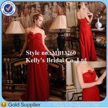 Neu ! Einfache Art trägerlose drapierte rote Chiffon Brautkleider