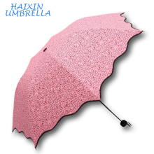 Very Cheap Gift Items Sales Promotion Giveaways 3 Folding Pencil Style Customized Heart Printing Mini Pocket Umbrella For Girls