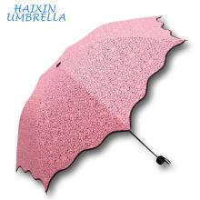 Oferta muito barata dos artigos de presente Promoção de brindes 3 Folding lápis estilo personalizado coração impressão Mini bolso guarda-chuva para meninas
