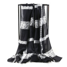 Mode en soie Chiffon Lace print Echarpe Femme