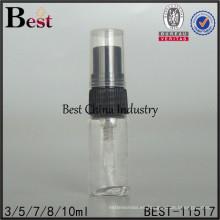 botella clara del probador del perfume, botella clara del tubo del perfume 3ml con el rociador plástico negro
