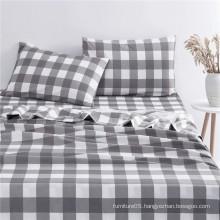 Wholesale Classic plaid pattern printed brushed bedding set sheet set for bedroom