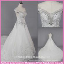 WD6023 Qualidade tecido pesado artesanal exportação qualidade capela trem floral cristal com contas de boné de mangas vestido de noiva