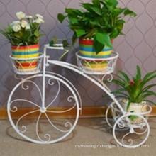 Горячие продажи 3 уровня кованого железа велосипед подставка для цветов в горшке