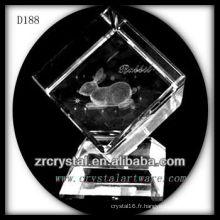 K9 Laser 3D lapin à l'intérieur du Cube de cristal