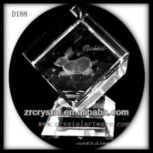 K9 Laser 3D coelho dentro de cubo de cristal