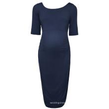 Kate Kasin Femmes confortables à manches longues manches cou coston bleu marine maternité robe de soirée KK000502-2