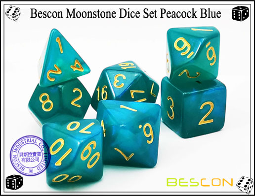Peacock Blue Dice Set-6