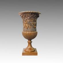 Vase Statue Enfants / enfants Bronze Jardiniere Sculpture TPE-1043