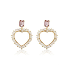 E-716 xuping latest design heart shaped design synthetic zircon fashion ladies drop earrings