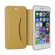 brown cover and white frame leather phone case,with one card slot