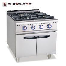 Faixa de gás de aço inoxidável de venda quente com fogão de gás de cozinha comercial de 4 queimadores Comida de cozinha rápida