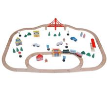 70pcs Tunnel Play Set jouet en bois de chemin de fer en bois