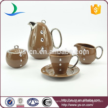 Simple y hermoso porcelana marrón conjunto de café conjunto de té china