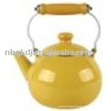color enamel kettle with SS and wooden handle