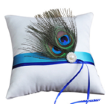Peacock tail feathers Satin Ring Bearer Pearl Beaded Wedding Pillow