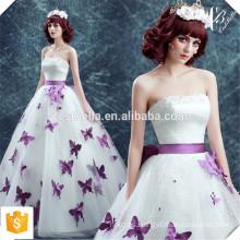 Vestido de bola de la tarde de la perla con la mariposa púrpura de vestidos de noche del hombro