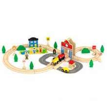 50PCS Wooden Train Set Toy for Kids and Children