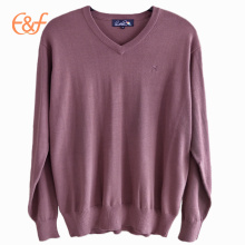 V Neck Pullover Plain Knit Jumper Clothes For Men