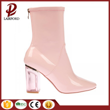 pink PU ankle short boots for lady