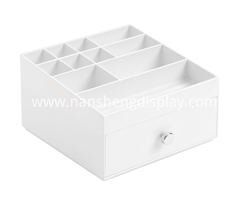 White Cosmetic Makeup Storage Organizer With Drawer
