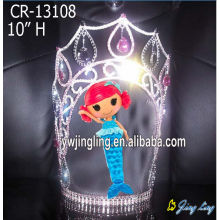 8 Inch custom rhinestone mermaid pageant crowns for girls