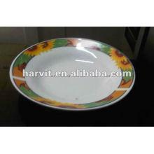 Plato de sopa de corte de porcelana