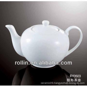 780ml 2014 hot sale drum shape hotel and restaurant used porcelain tea pot wholesale