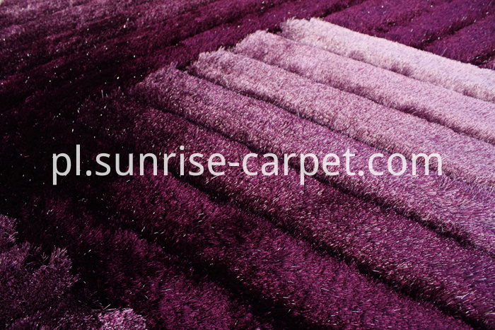 Polyester Shaggy 3D Rug in Purple Color