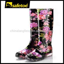 Botas de lluvia de plástico de las mujeres, botas de lluvia de señoras W-6040